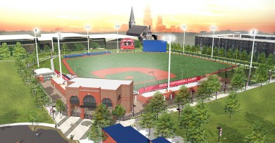 Aerial rendering of Curtis Granderson Stadium