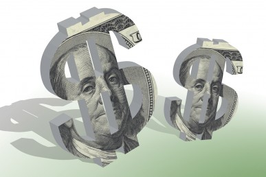 Dollar signs with $100 bill illustration on the front