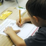 Child working in classroom