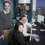 Robert Klie, Alan Nicholls, and Qiao Qiao working in the lab