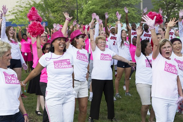 Staff, patients and employees dance for breast cancer video