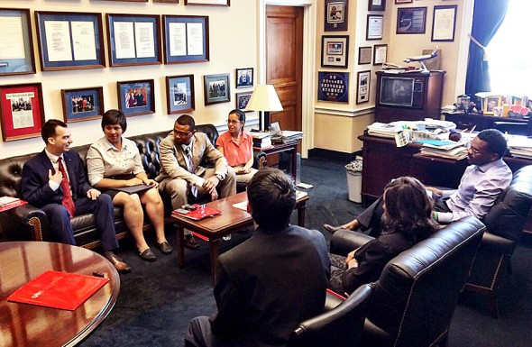 UIC students meet with staff in Rep. Danny Davis office in Washington, D.C., June 16 to discuss bid for Obama Presidential Library