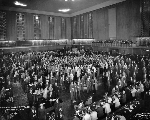 Crowds in the Chicago Board of Trade in 1930