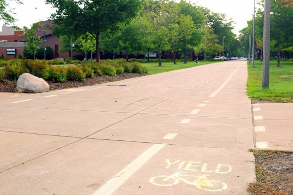 Bike lanes painted on campus sidewalks