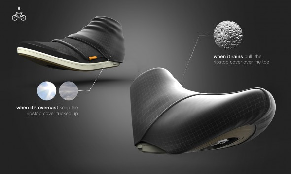 Illustration of shoe designed for urban bicyclists