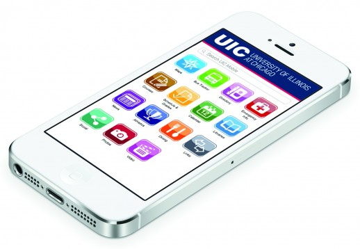 Rendering of phone with UIC Mobile app on screen