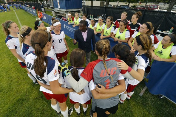 Women's Soccer Team huddle