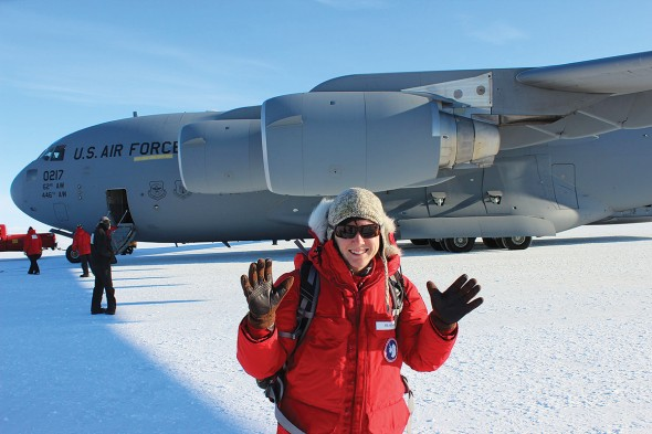 Hilary Dugan, UIC doctoral student in earth and environmental sciences, in Antarctica for research with professor Peter Doran.