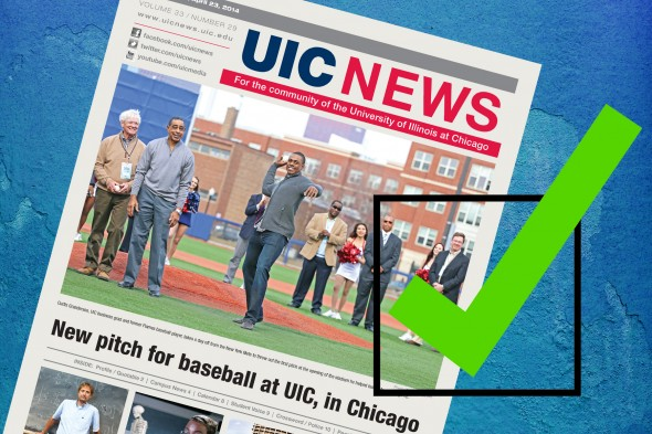 Issue of UIC News and green check mark
