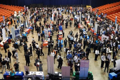 Crowd at diversity career fair