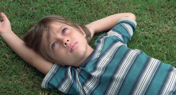 Boy laying in the grass