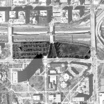 Aerial view with proposed Obama Presidential Library location highlighted