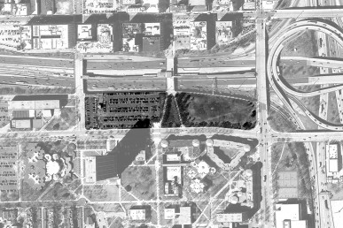 Aerial view with proposed Obama Library location highlighted