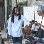 Poets Roger Reeves and Ladan Osman speak with a student