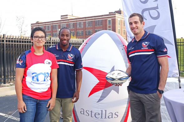 Sandra Schwendeman with USA rugby players Zack Test and Carlin Isles