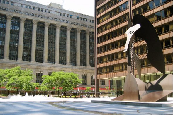 Daley Plaza and Chicago City Hall