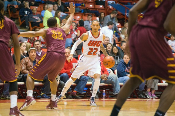 UIC Flames men's basketball vs Loyola. 22 Jay Harris