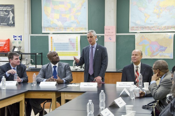 Rahm Emanuel speaks to UIC and North Lawndale leaders. (L-R) Michael Redding, executive associate chancellor of public and government affairs, UIC; Marcus Betts, North Lawndale Presidential Committee;  Chicago Mayor Rahm Emanuel; Ald. Michael D. Chandler, 24th Ward;  Ald.  Walter Burnett, 27th Ward.