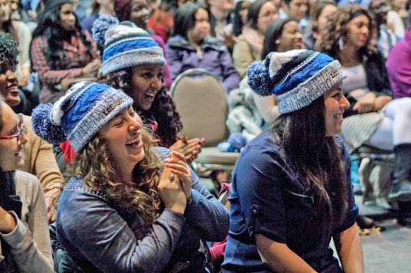 students laugh and applaud at LOL@UIC