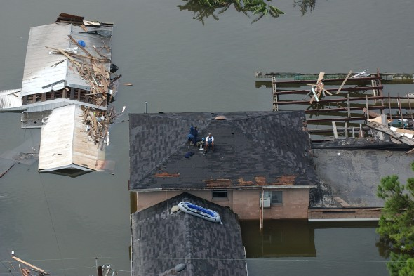 Aerial views of damage caused from Hurricane Katrina the day after the hurricane hit August 30, 2005