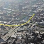 Northwest flyover, Byrne Interchange construction ramps