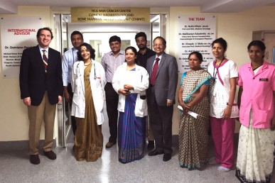 Dr. Damiano Rondelli (1st from left) with Dr. M. Kalashetty, BMT Coordinator (2nd from left), Dr. G. Kilara, Director of the MSR Cancer Centre (4th from right) at the launch of the BMT unit in Bangalore, India.