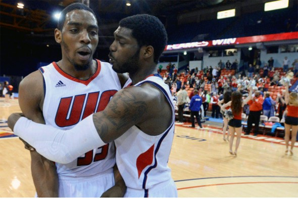 Ahman Fells, Marc Brown after UIC Flames basketball game vs. Wright State in first round of Horizon League tournament, March 3, 2015