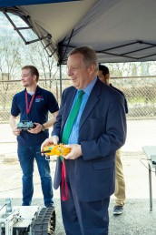 Senator Dick Durbin with a remote control