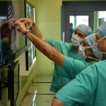 Surgeons view diagnostic images