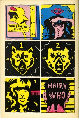 "Page by Karl Wirsum from ""The Portable Hairy Who,"" 1966, comic/artist's book.  Courtesy of Pentimenti Productions."