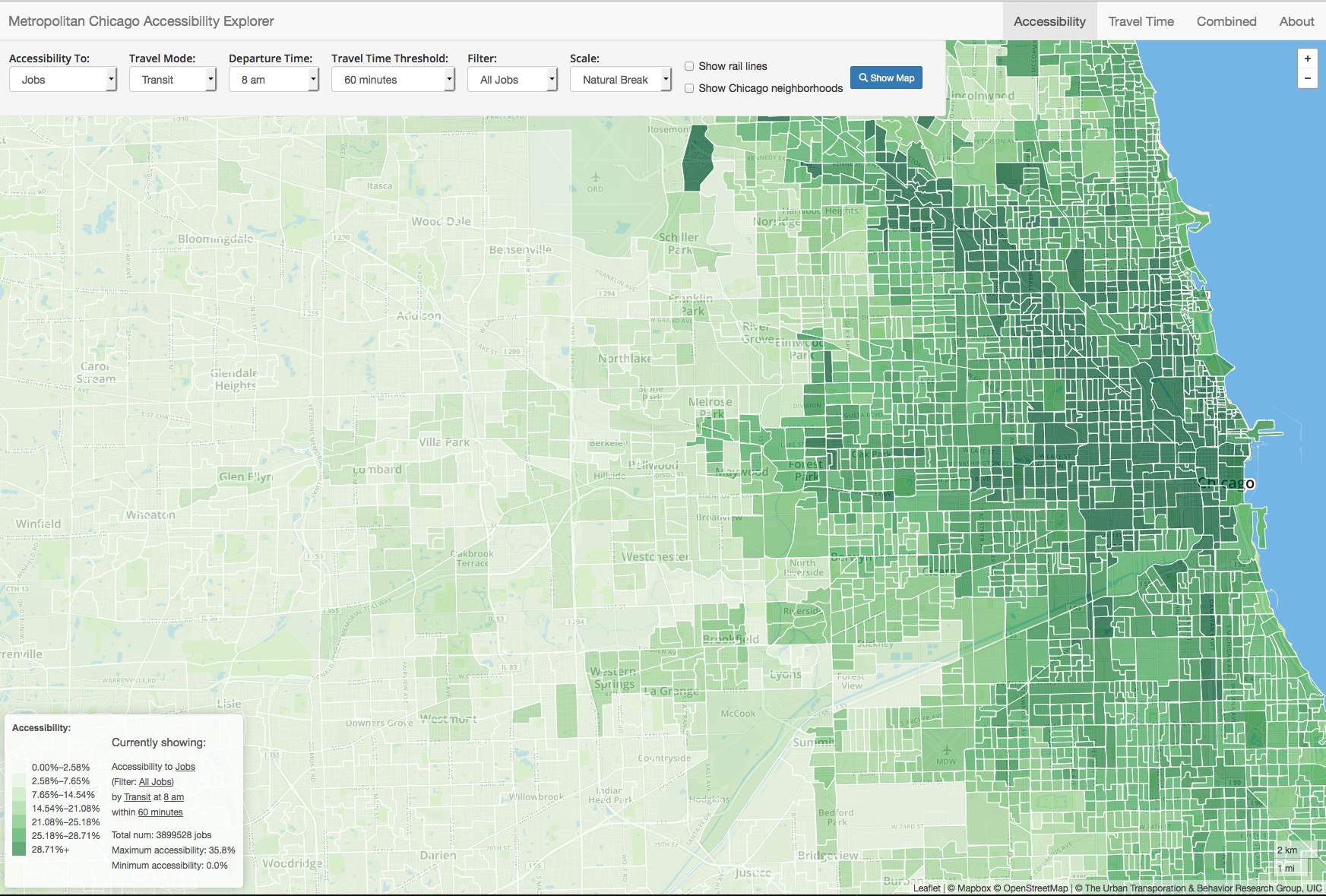 Online Tool Measures Access To Jobs Schools Parks And More UIC - Chicago map by county