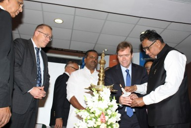 Dr. Terry Vanden Hoek,  head of emergency medicine in the UIC College of Medicine and investigator on the HeartRescue India grant; Dr. Timothy Erickson, head of the UIC Center for Global Health (second from right) and Dr. M. R. Jayaram, Chancellor, M. S. Ramaiah Medical College (far right) commemorate the launch of HeartRescue India at a ceremony in at the medical college in Bangalore.
