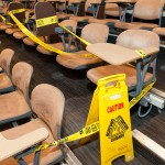 Chairs are blocked with caution tape