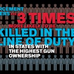 Infographic showing statistics about police deaths in states with highest gun ownership