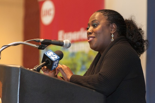 """Sheryl Underwood, comedian, UIC graduate and host of """"The Talk"""" CBS daytime show, visited campus and spoke to students."""