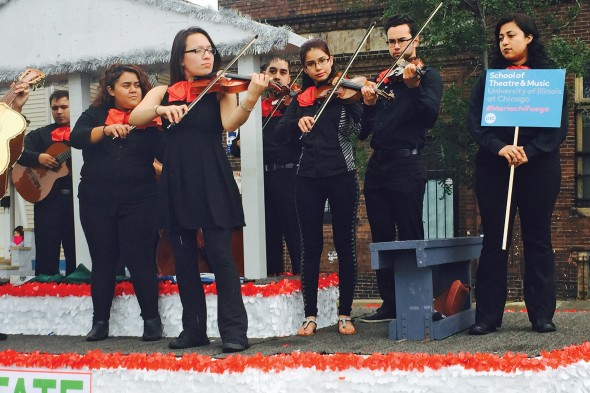 Mariachi Fuego performs in the Pilsen Mexican Independence Day Parade