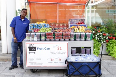 UIC Fruit Cart at Taylor and Wood, in front of the University of Illinois Hospital, partnered with Neighbor Capital and Streetwise.