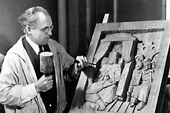 Artist working on WPA sculpture now on display at UIC