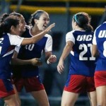 Women's soccer celebrates win against Loyola