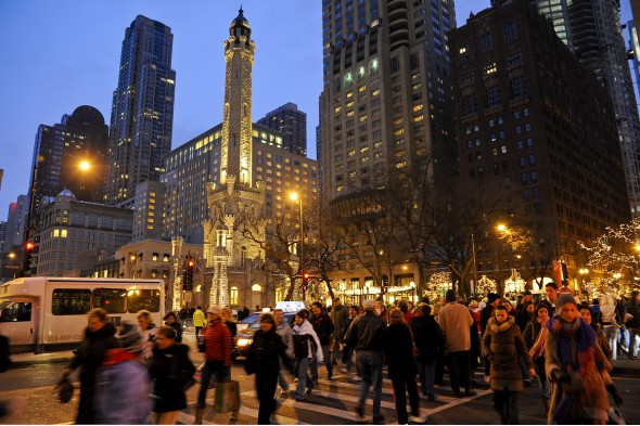 crosswalk at Chicago Water Tower