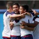 UIC men's soccer players celebrate win