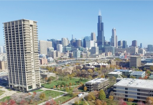 UIC campus looking east towards skyline and University Hall