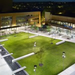 An example of proposed renovations for the UIC campus quad, showing green space and landscaping.