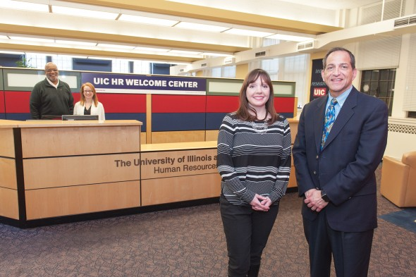Susan Balmes and Mike Ginsburg in the  Human Resources Welcome Center