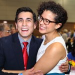 Fourth-year medical student Aaron Case celebrates with third-year student Valeria Valbuena