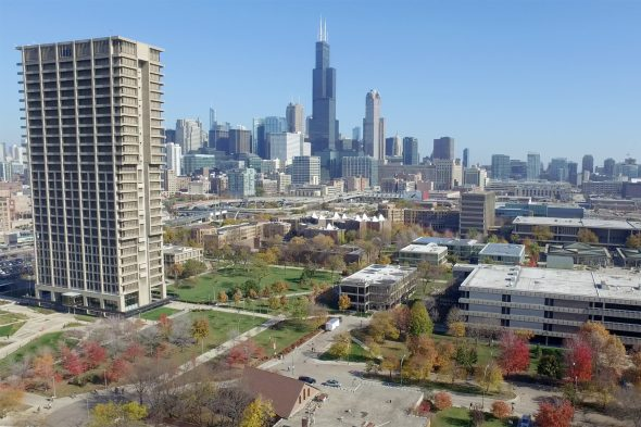 aerial view of campus and Chicago skyline