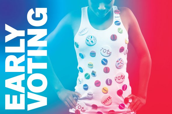 """woman wearing tank top covered in """"vote"""" buttons"""