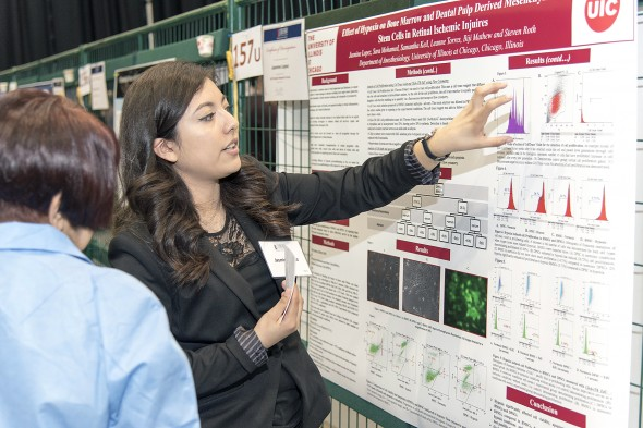 Jasmine Lopez, an undergraduate in biological sciences, presents her research on reversing retinal ischemic injuries