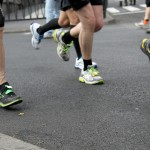 view of feet during a race
