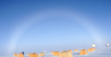 Fogbow over Summit Camp on the Greenland Ice Sheet. Photo: Max Berkelhammer